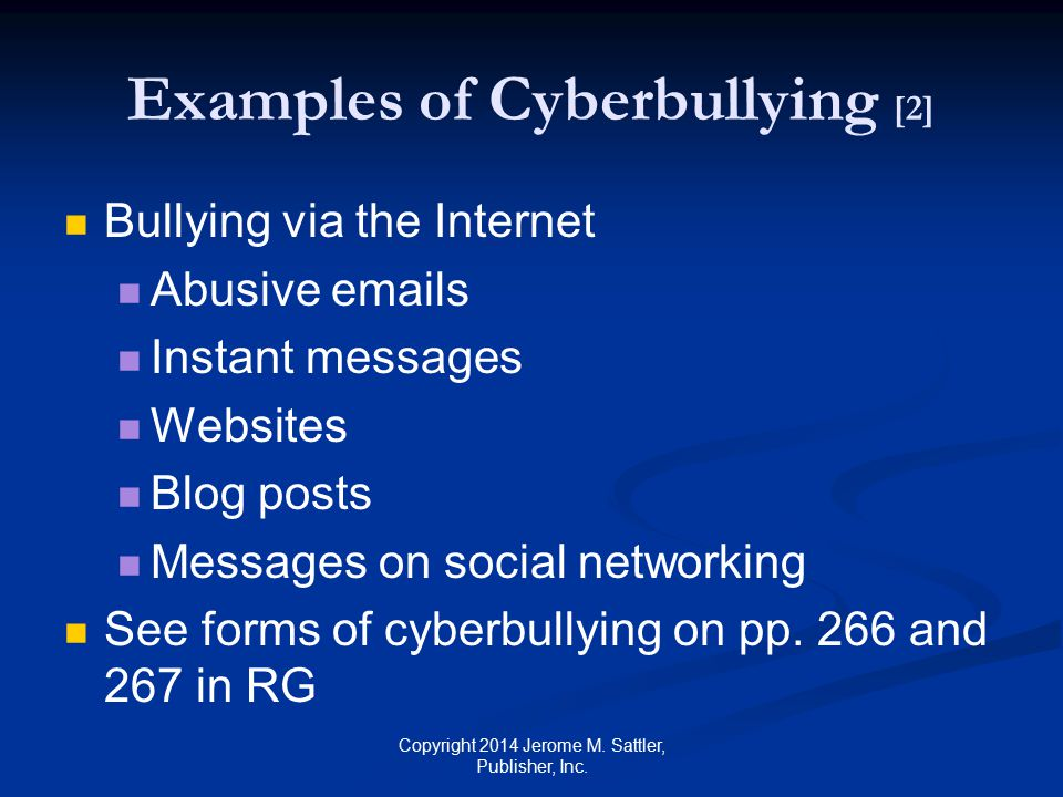 Examples of Cyberbullying [2]